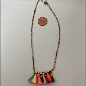 """Jewelry - Colorful Tassel Gold Tone Adjustable Necklace-12"""""""